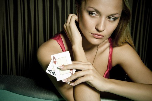 Girl with two cards