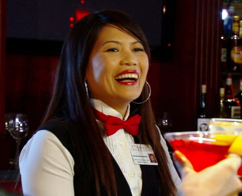 smiling waitress at the california grand casino